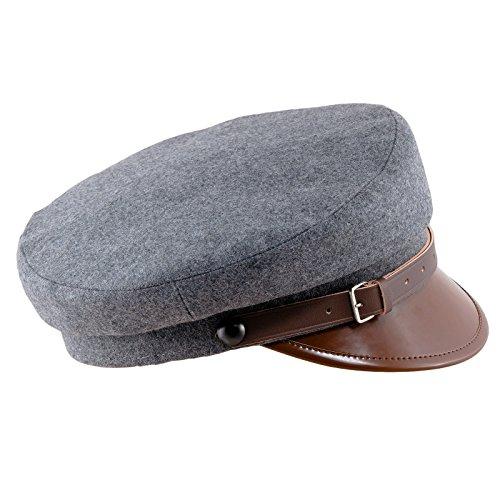 - Sterkowski Wool Cloth Peaked Breton Style Maciejowka Cap US 7 1/8 Grey/Brown