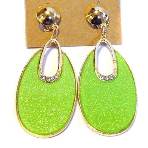 Clip-on Earrings Oval Hoop Dangle Bright Green Clip Earrings