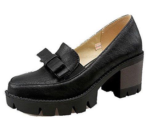 AllhqFashion Mujer Material Suave Sin cordones Puntera Redonda Tacón Medio Sólido De salón Negro