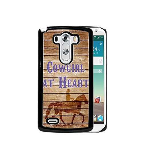 Brown Wood Cowgirl at Heart Cowgirl on Horse LG G4 (2015 MODEL) Hard Plastic Phone Case