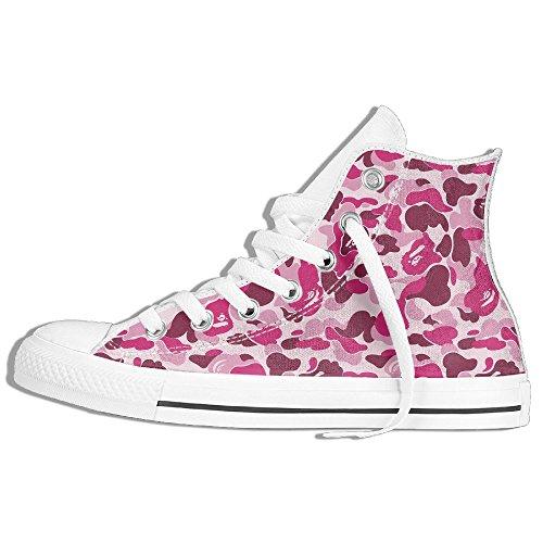Classiche Sneakers Alte Scarpe Di Tela Antiscivolo Modello Rosa Casual Da Passeggio Per Uomo Donna Bianco