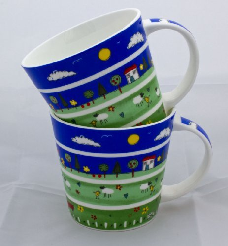 Delightful Pair of Fine Bone China Mugs In The Meadow (Pair China)