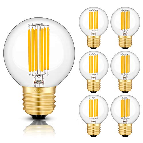 CRLight 6W Dimmable LED Globe Bulb 2700K Warm White 700LM, 60W Equivalent E26 Medium Base LED Filament Bulbs, G16(G50) Clear Glass Globe Shape, 360 Degrees Beam Angle, 6 Pack