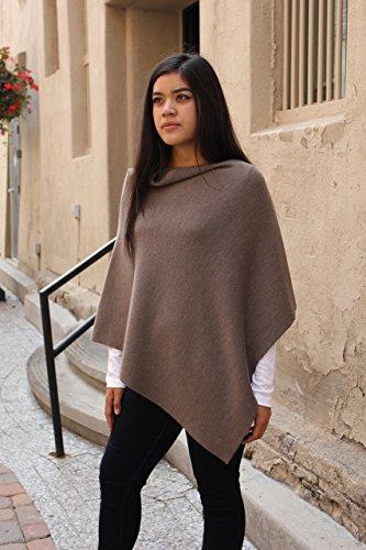 Emji 100% Cashwool® Merino Wool Fine Double Knit, Luxury Pullover Poncho, Fine Double Knit Poncho, Beige Falcon by Emji