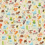 """Alphabet Gift Wrapping Paper Flat Sheet - 24"""" X 6'"""