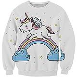 KIDVOVOU Kids Girls Long Sleeve Cute Cartoon Unicorn Hoodies Spring Autumn Pullover Top,13-14years,Rainbow Unicorn