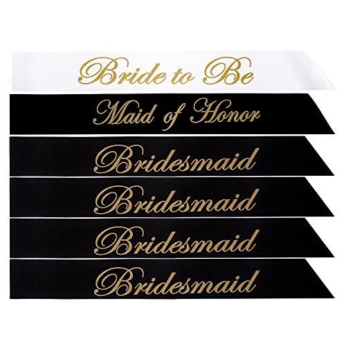 Nymph Code Bachelorette Party Satin Sash Set - 6 Pcs Bride Shower Favors Inluding 1 Pcs Bride To Be & 4 Pcs Bridesmaids & 1 Pcs Maid Of Honor Sash for Wedding Party Decorations Supplies(Printing)