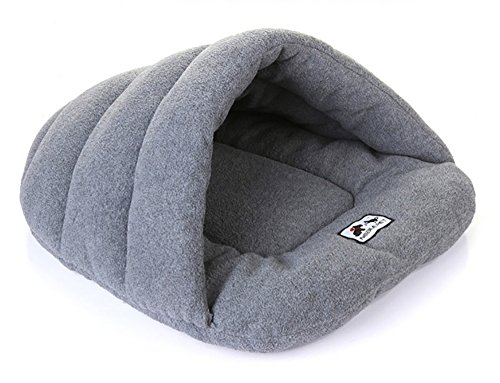 Joycentre Cat Puppy Cozy Sleeping Bag Pet Cave Half Covered Slipper Shape Windproof Pet Beds Snuggle Sack Soft Dog Blanket Mat (S(38×28CM), Light - Snuggle Dogs Sack
