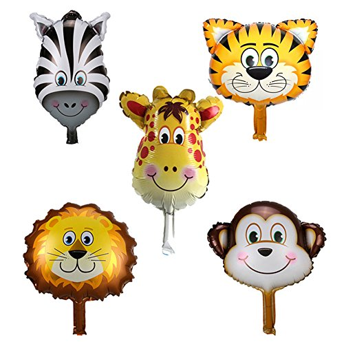 RoseSummer 5pcs/Set Animal Head Shape Foil Balloon Birthday Wedding Party Baby Shower Decor -