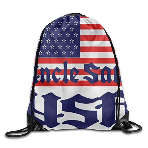 - USA UNCLE SAM FLAG Basic 100% Polyester Drawstring Backpack Easily Wash Elegant String Bags 16x14 Inch For Men And Women