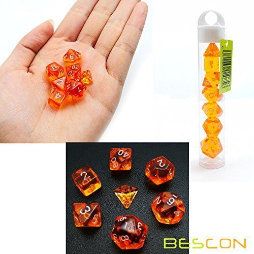 Bescon Mini Translucent Polyhedral RPG Dice Set 10MM, Small RPG Role Playing Game Dice Set D4-D20 in Tube, Transparent Orange