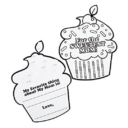 Amazon com: Color Your Own Sweetest Mom Cupcake Flip Cards