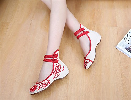 Wunes(TM) ひまわりの刺繍布靴のサイズ(34-41)ブルー+レッド中国風の国家通気性、快適柔らかい唯一のキャンバス[8.5青] B078KWCF88 8.5|青 青 8.5