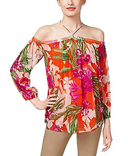 (INC International Concepts Petite Floral-Print Cold-Shoulder Top (Flower Tropic, PXL/Petite X-Large))