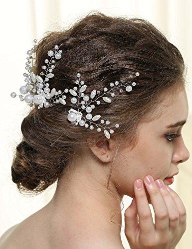 Nero Wedding Hair Pins for Women, Bridal Hair Accessories with Rhinestones (3 Pieces)