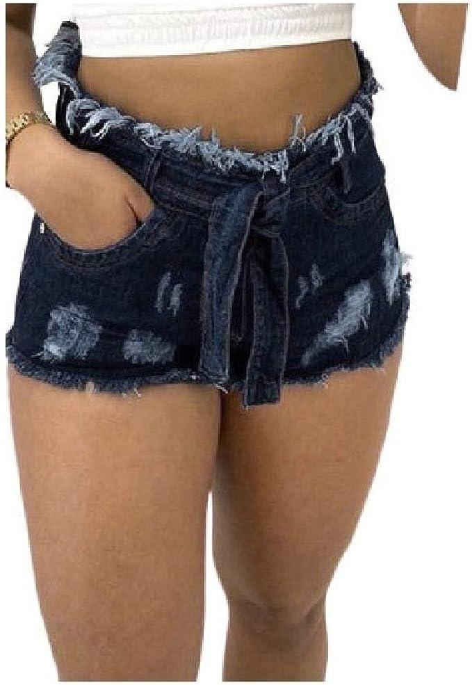 YAXINHE Women's Pure Color Highwaist Tassel Bodycon Holes Cozy Denim Hot Pants