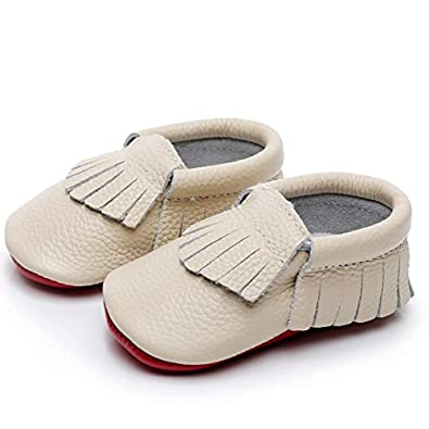 HONGTEYA Baby Tassel Shoes Soft Leather Sole - Girls Boys Grid Moccasins Crib Toddlers Suede Shoes