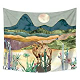 Staron Desert cactus camel Tapestry Wall Hanging Moon and Cactus Plant Printed Tapestry Cactus Watercolor Tapestry (59 X 51.2 inch)