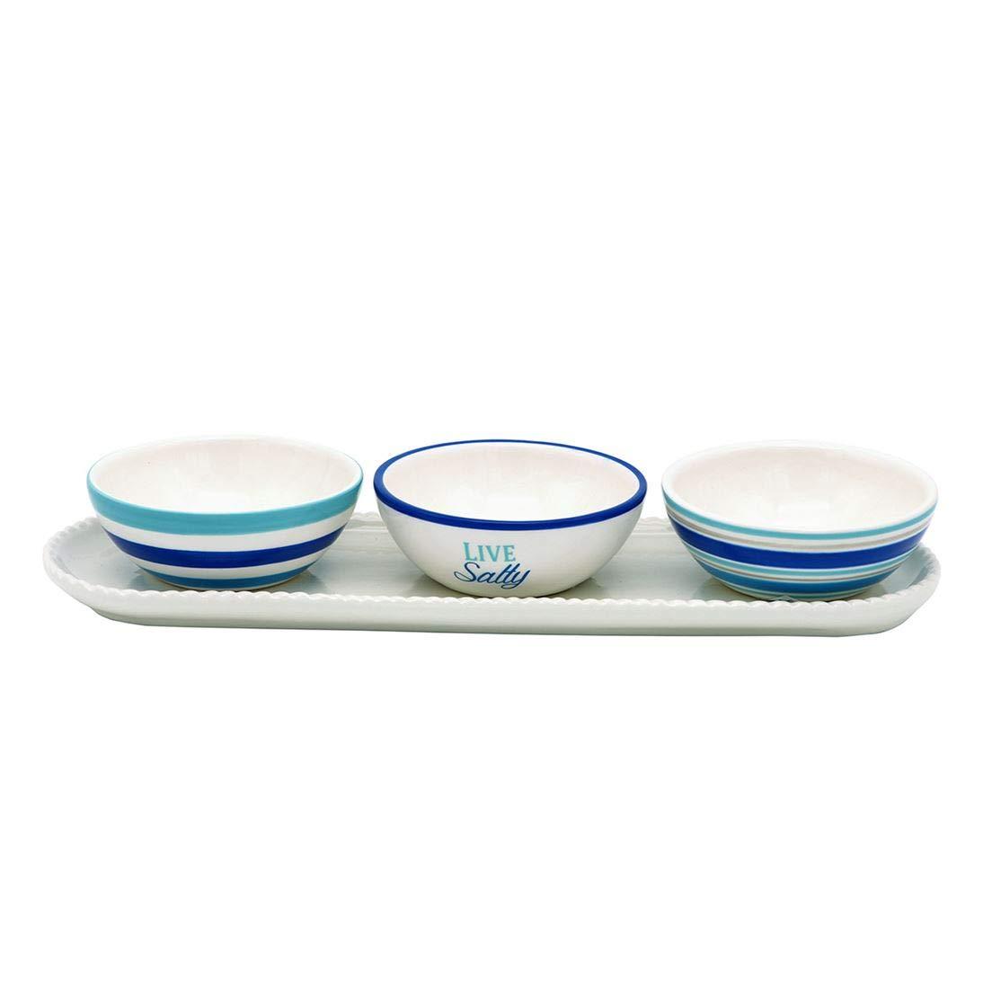 DEI 11586 Condiment Bowls, 14.5 x 5.25 x 4.25, Blue/White