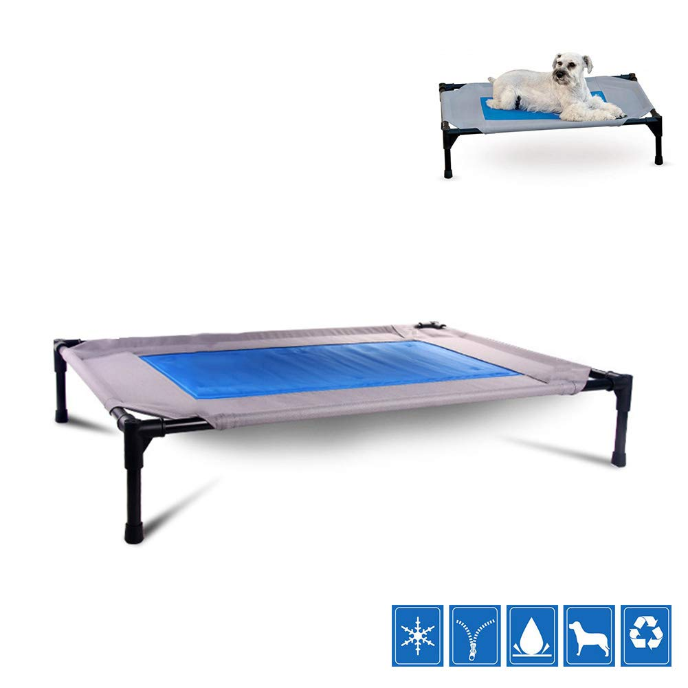 Large Elevated Cool Pet Bed, Water Injection Outdoor Pet Bed Detachable Oxford Waterproof Portable Dog Bed Camping or Beach,L