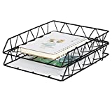 PAG Set of 2 Office Supplies Metal Stackable File Document Letter Tray Organizer for Desk, Black