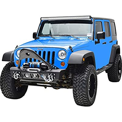 Restyling Factory -Black Textured Stinger Front Bumper with OE Fog Lights Housing and Winch Plate Built In for 07-17 Jeep Wrangler JK
