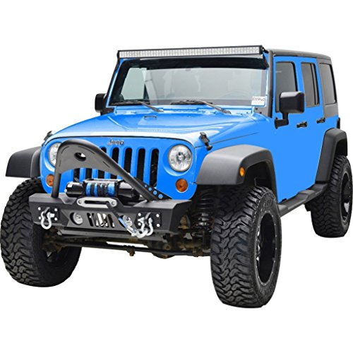 RF Jeep Wrangler JK Black Textured Front Bumper with Stinger and Built In Winch Plate