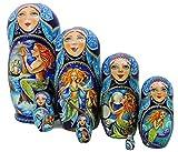 7pcs Hand Painted Russian Nesting Doll 'Mermaids by Ilyukova