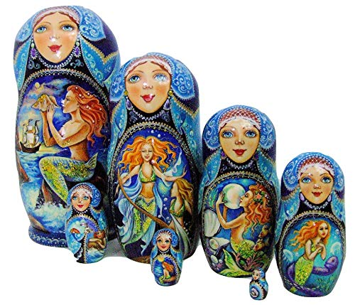 7pcs Hand Painted Russian Nesting Doll 'Mermaids by Ilyukova by Olga's Russian Collectibles (Image #9)