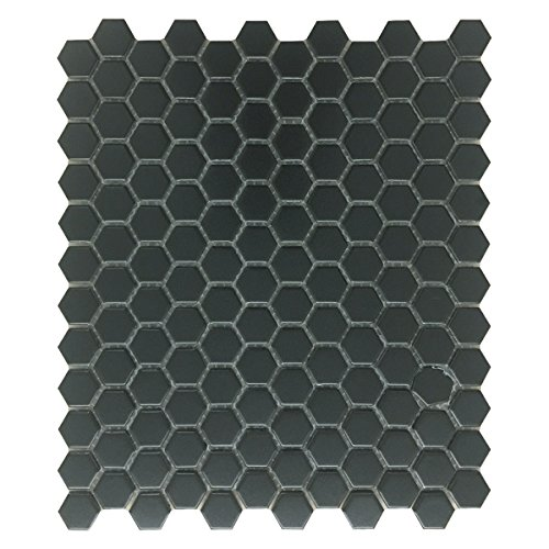 Renovators Supply Manufacturing Black Matte Grade A Porcelain Hexagon Kitchen Or Bathroom Floor Or Wall Tile, 1 Tile Sheet 10.25 Inch X 11.8 Inch