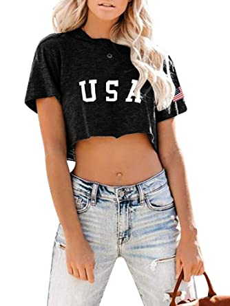 04ccc00f6939 Imily Bela Womens Crop Tops 4th of July Graphic Tee USA American Flag Cute T  Shirt