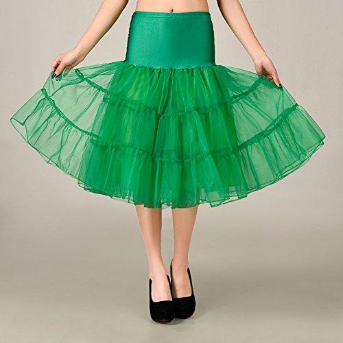 "FOLOBE 50s falda Tutu Crinoline sudadera Tutú adulto del ballet talla acodada mini falda del cordón 65cm / 25.6inch "" Verde"