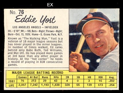 1962 Jello Regular (Baseball) Card# 76 Eddie Yost of the ...