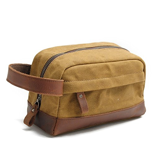 Travables Classic Waterproof Canvas Leather Toiletry Bag for Shaving Kit Makeup (Khaki) (Classic Zip Tote Target)