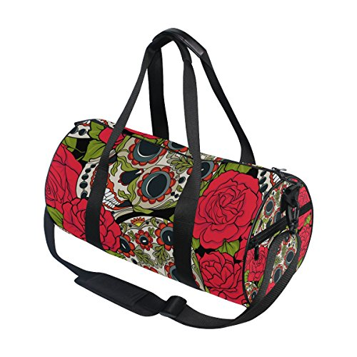 Naanle Sugar Skull Rose Day Of The Dead Dia De Los Muertos Gym bag Sports Travel Duffle Bags for Men Women Boys Girls Kids by Naanle (Image #2)