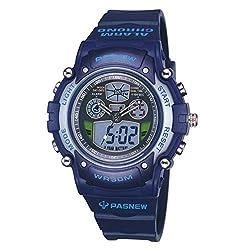 Zehui LED Luminous Digital Watch Students' Outdoor Sports Waterproof LED Luminous Digital Watch with Alarm Clock Calendar Chronograph Fuction Dark Blue