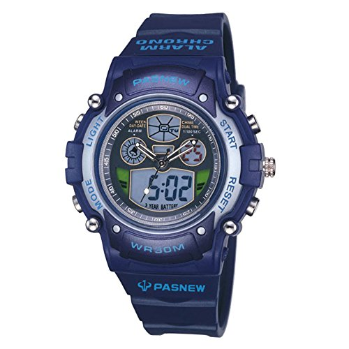Zehui LED Luminous Digital Watch Students' Outdoor Sports Waterproof LED Luminous Digital Watch with Alarm Clock Calendar Chronograph Fuction Dark Blue by Zehui