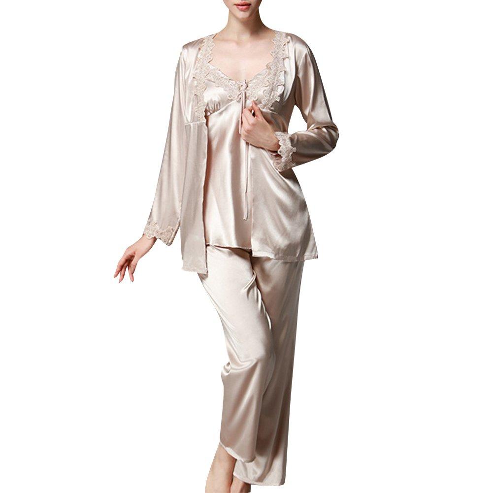 Donna Pigiama Set da 3 Pezzi Comodo e Elegante Classica Camicia da Notte Seta a Maniche Lunghe