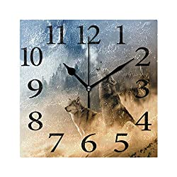 Wamika Howling Wolf Moon Wall Clock Battery Operated Non Ticking Silent Galaxy Animal Cartoon Clock Square Acrylic Quartz Decorative Clocks for Home Office Kitchen School Easy to Read