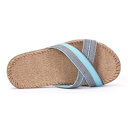 Le AWXJX épais Femme Lin Pansements Tongs Fond Été Blue Piscine Cross Chaussures xz6qxUw1f
