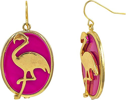 Oval Pink Shell Earrings - Paradise Shores Flamingo & Pink Shell Oval Drop Earrings Pink/gold tone