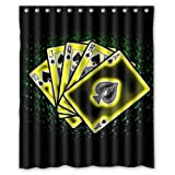 60''(W) x 72''(H) Black Background Poker Number Popular Bathroom Shower Curtain 100% Polyester