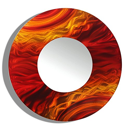23-inch Jon Allen Metal Round Decorative Wall-Mounted Mirror, - Red Round Mirror