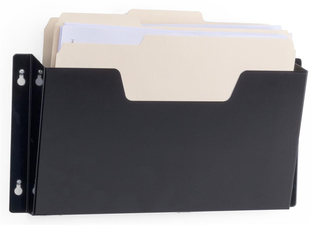 Displays2go Set of 10 - 12.75 Inch W Letter Size Folder Wall File, Single Pocket, Hardware Included Black Steel (WFP01BLK)