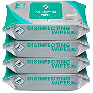 WipesPlus Disinfecting Wipes (320 Total Wipes) - 4 Packs of 80 Industrial Strength Sanitizing Wipes - 80 Disinfectant Wipes per Pack - Made in the USA