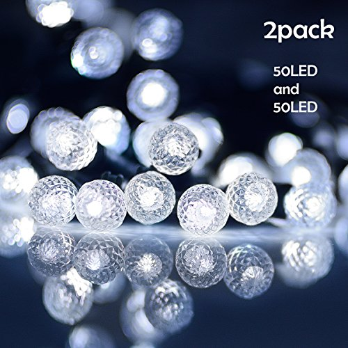 Lalapao Solar Powered String Lights 2 Pack 50 LED G12 Fairy Christmas Decor Globe Lighting with 8 Modes for Xmas Tree Outdoor Indoor Garden Path Patio Lawn Home Holiday Party Decorations (White) from Lalapao
