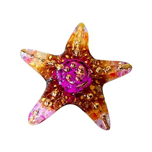 Sansukjai StarFish Figurines Animals Hand Painted Orange Brown Hand Blown Glass Art Gold Trim Collectible Gift Decorate