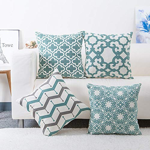 (baibu Embroidered Throw Pillows Covers 4PCS/Set, Decorative Teal Throw Pillow Case Turquoise Cushion Cover for Couch Sofa 18x18 inch)