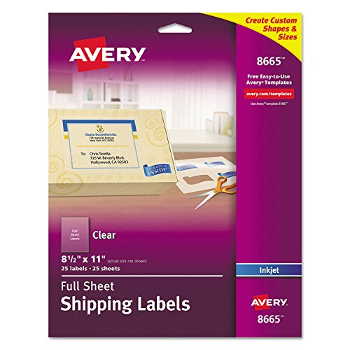 Avery 8665 Inkjet Mailing Labels, Full Sheet, 8-1/2-Inch x11-Inch, 25/PK, Clear