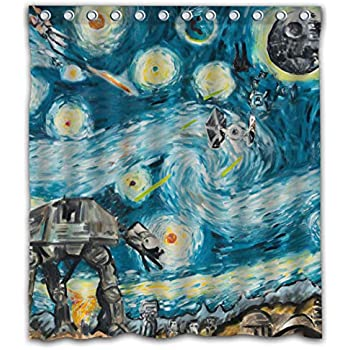 Necky Jennifer Starry Night Attack of Clones Thick Heavy Waterproof Fabric Shower Curtain 12 Holes for Bathroom Decor - 66x72 Inches